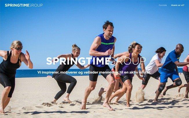 skjermbilde av forsiden på websiden til springtimegroup.no